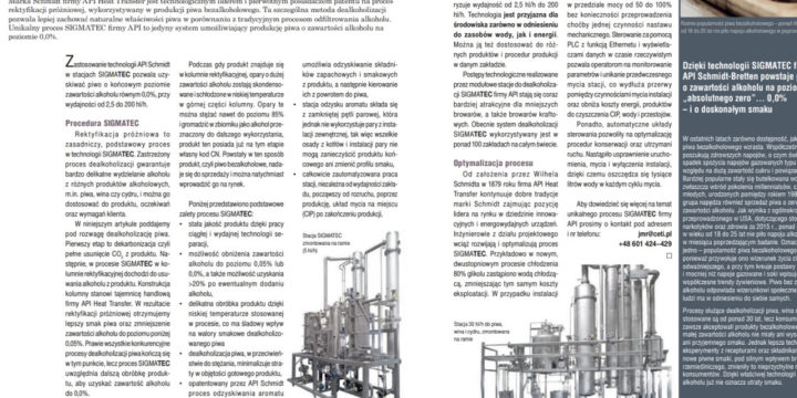 System dealkoholizacji Sigmatec w kwartalniku AgroIndustry