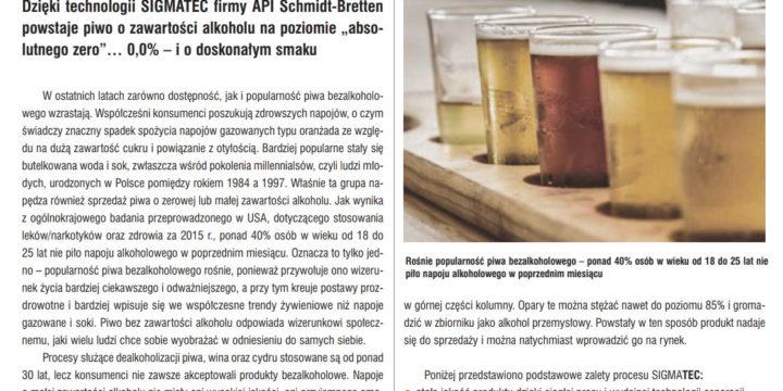 """Sigmatec Dealcoholisation System  in """"Przemysł Fermentacyjny i Owocowo-Warzywny"""" Quarterly"""