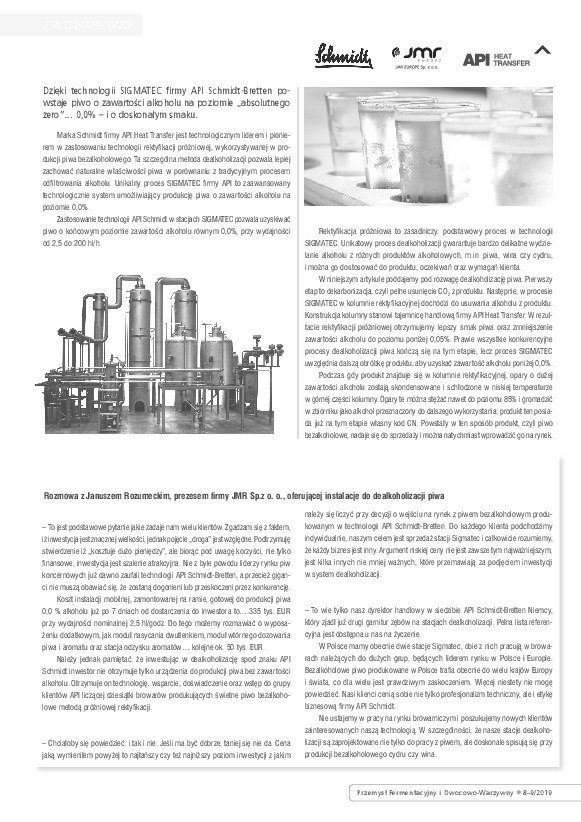 "SIGMATEC technology in the journal ""Fermentation and Fruit and Vegetable Industry"""